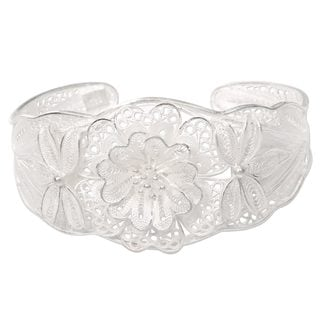 """Link to Sterling Silver Filigree Bracelet, 'God'S Garden' (Indonesia) - 7'6"""" x 9'6"""" Similar Items in Fashion Jewelry Store"""