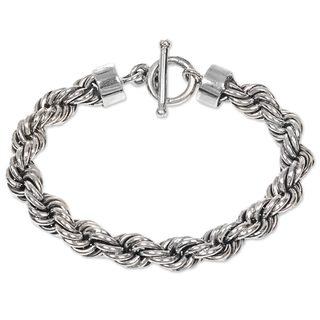 Sterling Silver Chain Bracelet, 'Spiral Bound' (Indonesia)