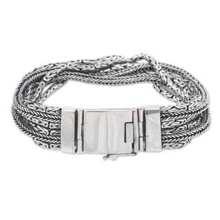 Sterling Silver Chain Bracelet, 'Borobudur Voyage' (Indonesia)