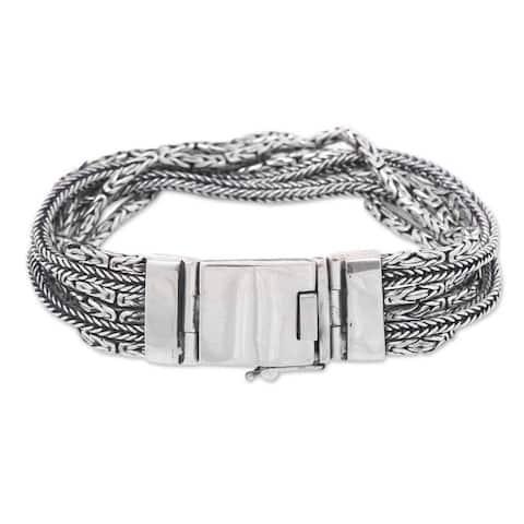 Handmade Sterling Silver Chain Bracelet, 'Borobudur Voyage' (Indonesia)