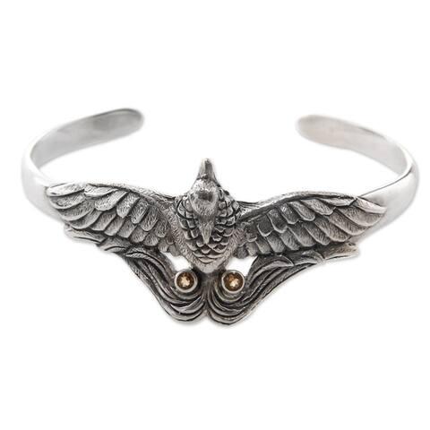 "Citrine Cuff Bracelet, 'Bird of Paradise' (Indonesia) - 7'6"" x 9'6"""