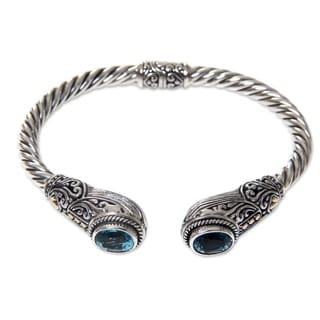 Gold Accent Blue Topaz Cuff Bracelet, 'Empress Of Gelgel' (Indonesia)