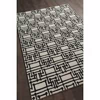 Artist's Loom Hand-tufted Contemporary Geometric Pattern Black/White Wool Rug (5'x7')