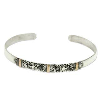 Gold Accent Cuff Bracelet, 'Vine Tendrils' (Indonesia)