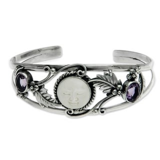 Amethyst Cuff Bracelet, 'Night Goddess' (Indonesia)