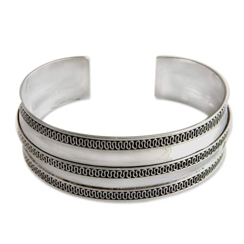 Sterling Silver Cuff Bracelet, 'Balinese Ruffles' (Indonesia)