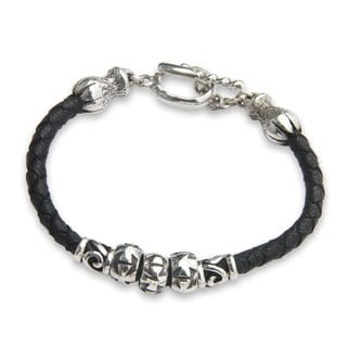 Sterling Silver and Leather Braided Bracelet, 'Maltese Cross' (Indonesia)