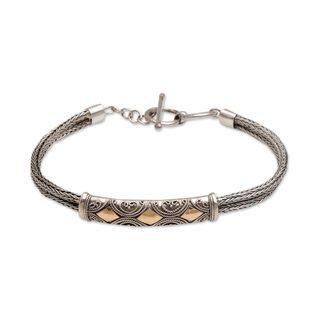 Sterling Silver Wristband Bracelet, 'Majapahit Princess' (Indonesia)