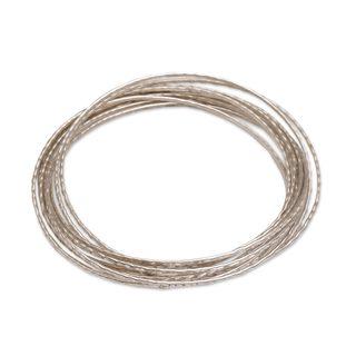 Sterling Silver Bangle Bracelet, 'Ten Moons' (Indonesia)