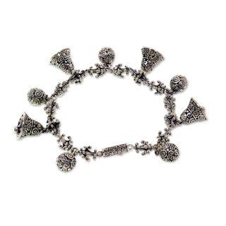 Sterling Silver Charm Bracelet, 'Singing Bells' (Indonesia)