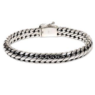 Sterling Silver Braided Bracelet, 'Love Links' (Indonesia)