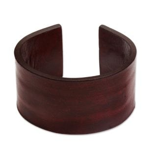 Leather Bracelet, 'Crimson Reality' (Indonesia)
