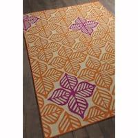 Artist's Loom Handmade Flatweave Transitional Floral Pattern Wool Rug (4'x6')