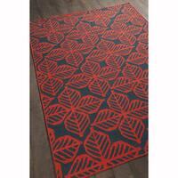 """Artist's Loom Handmade Flatweave Transitional Floral Pattern Red/Black Wool Rug - 5'7''x7'10"""""""