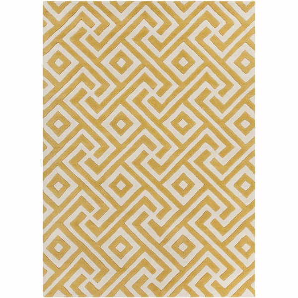Artist S Loom Hand Tufted Contemporary Geometric Pattern Yellow White Wool Rug 5 X7