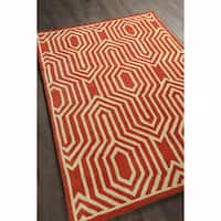 Artist's Loom Hand-tufted Contemporary Graphic Pattern Orange/White Wool Rug (5'x7')