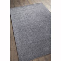 Artist's Loom Hand-tufted Transitional Floral Pattern Grey Wool Rug (5'x7')