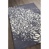 Artist's Loom Hand-tufted Transitional Floral Pattern Grey/White Wool Rug (5'x7')