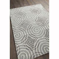 Artist's Loom Hand-tufted Contemporary Geometric Pattern Grey Wool Rug (5'x7')