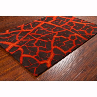 """Artist's Loom Hand-tufted Contemporary Abstract Brown Wool Rug (5'x7'6"""")"""