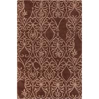 """Artist's Loom Hand-tufted Transitional Floral Pattern Brown/White Wool Rug (5'x7'6"""")"""