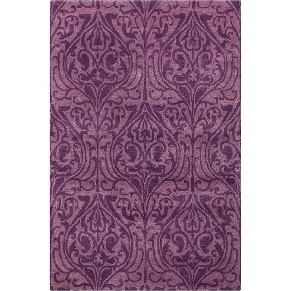 """Artist's Loom Hand-tufted Transitional Floral Pattern Purple Wool Rug (7'9''x10'6"""")"""