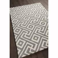 Artist's Loom Hand-tufted Contemporary Geometric Pattern Grey/White Wool Rug (7'x10')