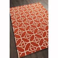 Artist's Loom Hand-tufted Contemporary Graphic Pattern Orange/White Wool Rug (7'x10')