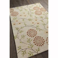Artist's Loom Hand-tufted Transitional Floral Pattern White Wool Rug (7'x10')