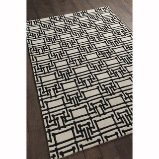 Artist's Loom Hand-tufted Contemporary Geometric Pattern Black/White Wool Rug (7'x10')