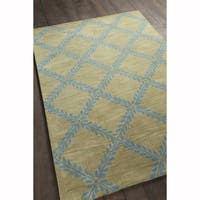Artist's Loom Hand-tufted Transitional Floral Pattern Blue/Green Wool Rug (7'x10')