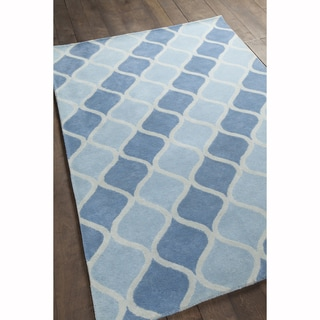Artist's Loom Hand-tufted Moroccan Pattern Blue/White Wool Rug (7'x10')