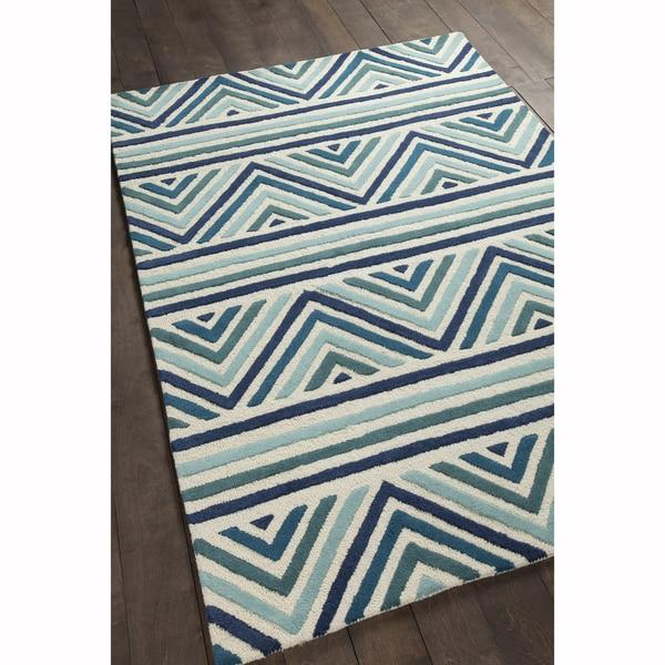 Artist X27 S Loom Hand Tufted Contemporary Chevron Pattern Blue White Wool