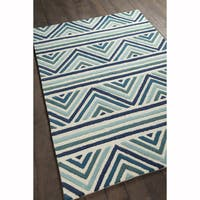 Artist's Loom Hand-tufted Contemporary Chevron Pattern Blue/White Wool Rug (7'x10')