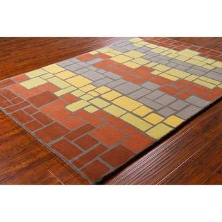Artist's Loom Hand-tufted Contemporary Geometric Blocks Wool Rug (8'x10')