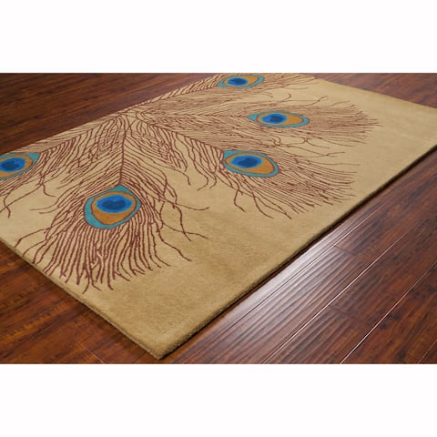 Artist's Loom Hand-tufted Transitional Peacock Feathers Wool Rug (8'x10')