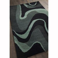 Artist's Loom Hand-tufted Contemporary Geometric Black/Teal Wool Rug (8'x10')