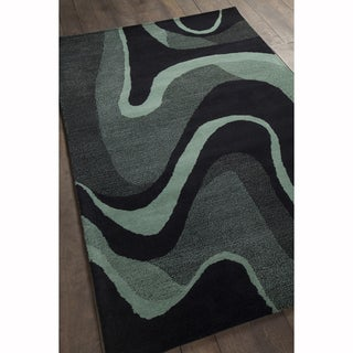 Artist's Loom Hand-tufted Contemporary Geometric Black/Teal Wool Rug (8'x10')