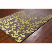 Artist's Loom Hand-tufted Transitional Floral Brown/Green Wool Rug (8'x10')