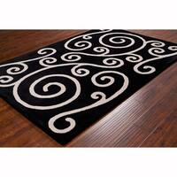 Artist's Loom Hand-tufted Transitional Black Wool Rug (8'x10')