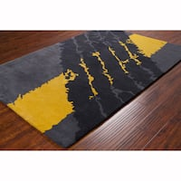 Artist's Loom Hand-tufted Contemporary Abstract Grey Wool Rug (8'x10')