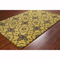 Artist's Loom Hand-tufted Contemporary Abstract Green Wool Rug (8'x10')