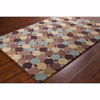 Artist's Loom Hand-tufted Contemporary Geometric Brown Wool Rug (8'x10')