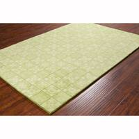 Artist's Loom Hand-tufted Contemporary Geometric Green Wool Rug (8'x10')