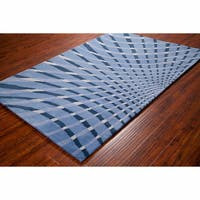 Artist's Loom Hand-tufted Contemporary Abstract Blue Wool Rug (8'x10')