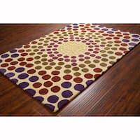 Artist's Loom Hand-tufted Contemporary Geometric Cream Wool Rug (8'x10')