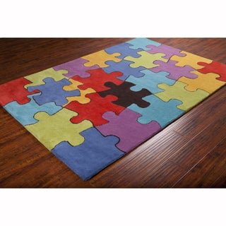 Artist's Loom Hand-tufted Contemporary Colorful Jigsaw Puzzle Wool Rug (8'x10')