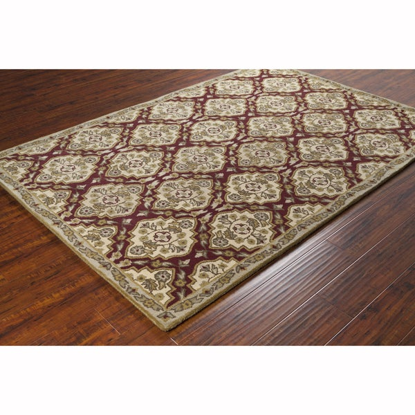 Hand Tufted Traditional Oriental Red Wool Rug With Non: Shop Artist's Loom Hand-tufted Traditional Oriental