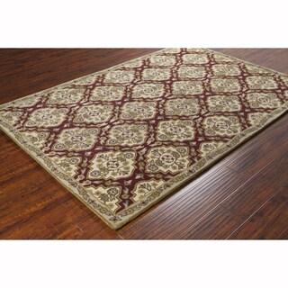 Artist's Loom Hand-tufted Traditional Oriental Burgundy Wool Rug (8'x10')