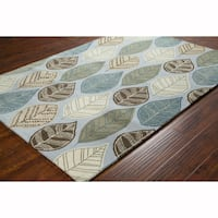 Artist's Loom Hand-tufted Transitional Leaves Design Wool Rug (8'x10')